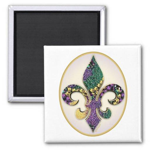 Mardi Gras Bead Fleur de lis Refrigerator Magnets