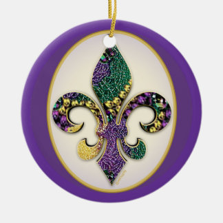 Mardi Gras Bead Fleur de lis Round Ceramic Decoration