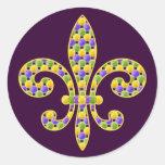 Mardi Gras bead Fleur de lis Round Stickers