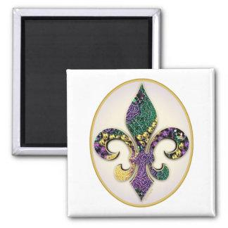 Mardi Gras Bead Fleur de lis Square Magnet