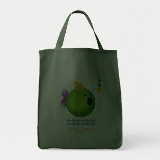 Mardi Gras Bead Shark (green) Grocery Tote Bag