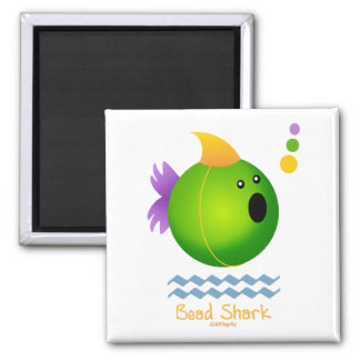Mardi Gras Bead Shark (green) Magnets