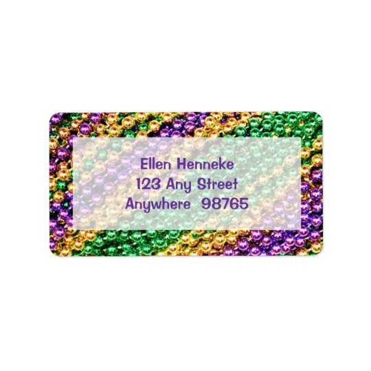 Mardi Gras Beads Address Label