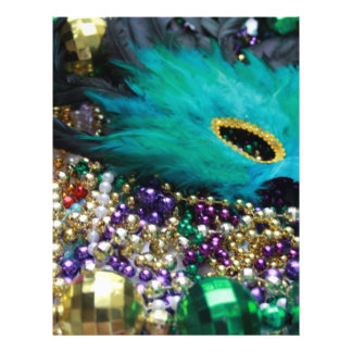Mardi Gras Beads & Green Feather Mask 21.5 Cm X 28 Cm Flyer