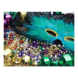 Mardi Gras Beads & Green Feather Mask Custom Invites