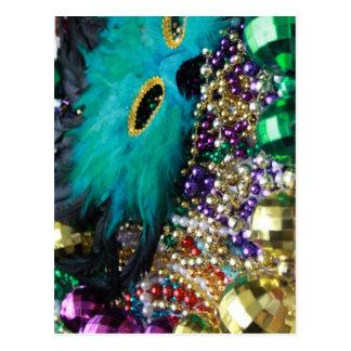 Mardi Gras Beads & Green Feather Mask Postcard