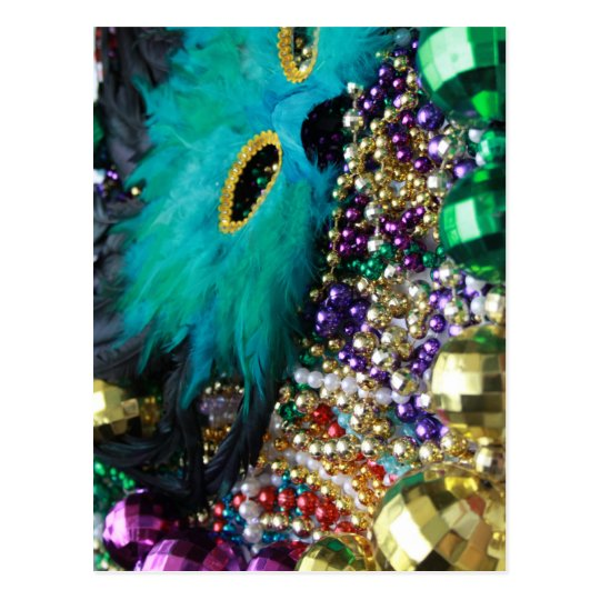 Mardi Gras Beads & Green Feather Mask Postcard