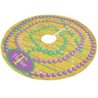 Mardi Gras Beads Monogram Fleece Tree Skirt