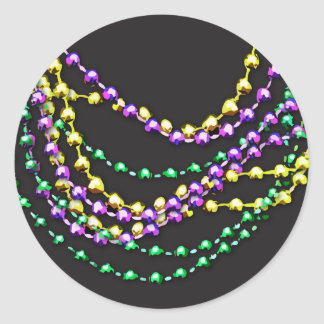 Mardi Gras Beads Necklaces Round Sticker