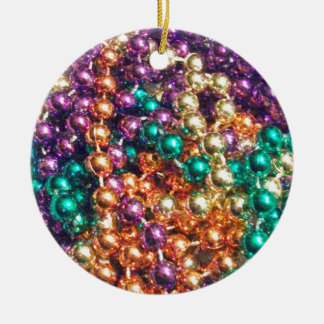 Mardi Gras Beads Round Ceramic Decoration