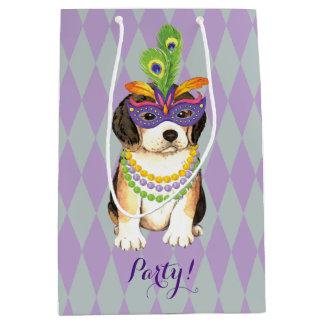 Mardi Gras Beagle Medium Gift Bag