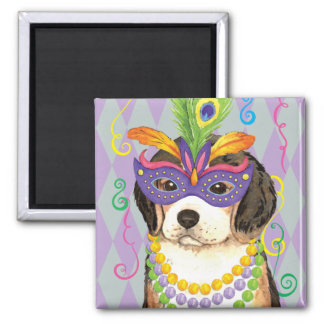 Mardi Gras Beagle Square Magnet