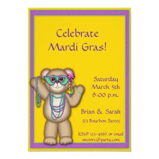 "Mardi Gras Bear Invitation 5"" X 7"" Invitation Card"
