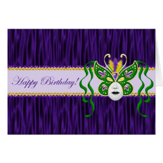Mardi Gras Birthday Card