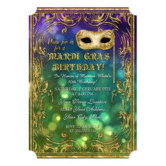 Mardi Gras Birthday Masquerade Mask Bokeh Gold 13 Cm X 18 Cm Invitation Card