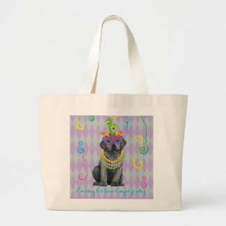 Mardi Gras Black Lab Large Tote Bag