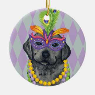 Mardi Gras Black Lab Round Ceramic Decoration