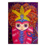Mardi Gras Blythe Doll with Pink Hair and Mask Greeting Card