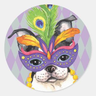 Mardi Gras Boston Terrier Classic Round Sticker