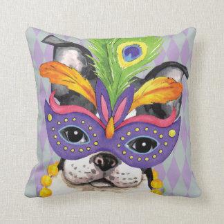 Mardi Gras Boston Terrier Cushion
