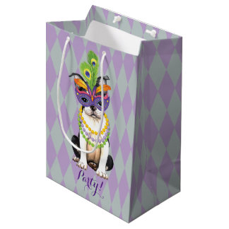 Mardi Gras Boston Terrier Medium Gift Bag