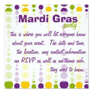 Mardi Gras Bubble Dots 13 Cm X 13 Cm Square Invitation Card