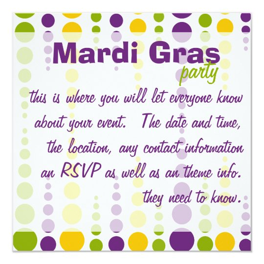 Mardi Gras Bubble Dots Card