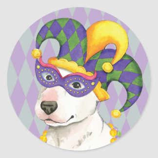 Mardi Gras Bull Terrier Classic Round Sticker