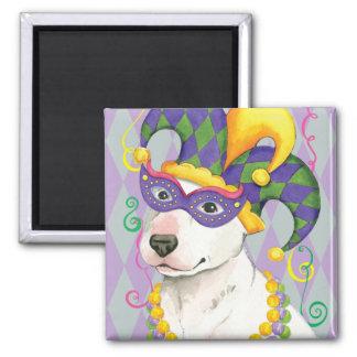 Mardi Gras Bull Terrier Square Magnet
