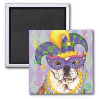 Mardi Gras Bulldog Square Magnet