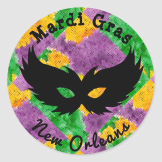 Mardi Gras Camouflage Mask Classic Round Sticker