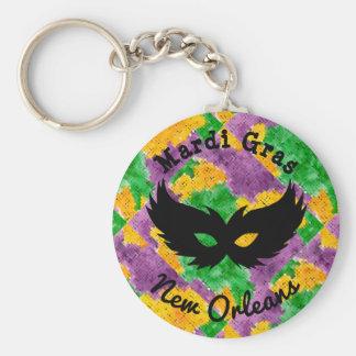 Mardi Gras Camouflage Mask Key Ring