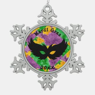 Mardi Gras Camouflage Mask Snowflake Pewter Christmas Ornament