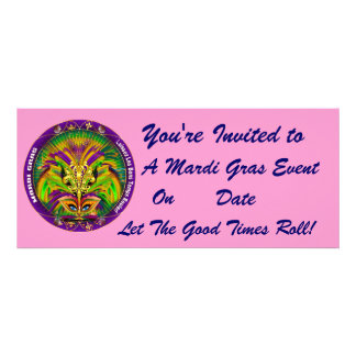 Mardi Gras Carvinal 4 x 9 25 Landscape View Note Personalized Invitation