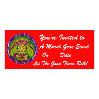 Mardi Gras Carvinal 4 x 9 25 Landscape View Note Custom Invitations