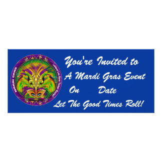 Mardi Gras Carvinal 4 x 9 25 Landscape View Note Invite
