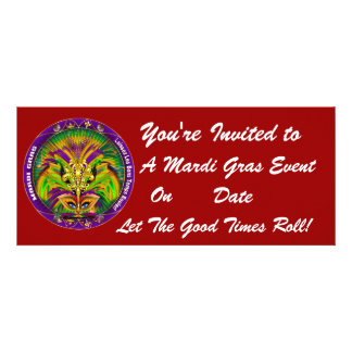 Mardi Gras Carvinal 4 x 9 25 Landscape View Note Personalized Announcements