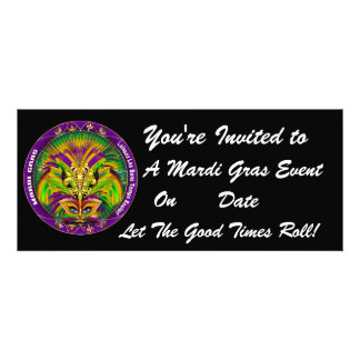 Mardi Gras Carvinal 4 x 9 25 Landscape View Note Invitations