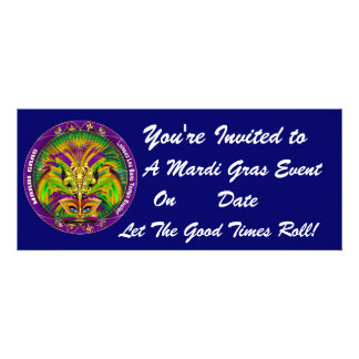 Mardi Gras Carvinal 4 x 9 25 Landscape View Note Announcement
