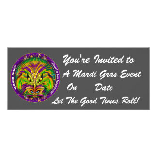 Mardi Gras Carvinal 4 x 9 25 Landscape View Note Invites