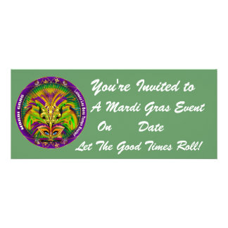 Mardi Gras Carvinal 4 x 9 25 Landscape View Note Custom Invite