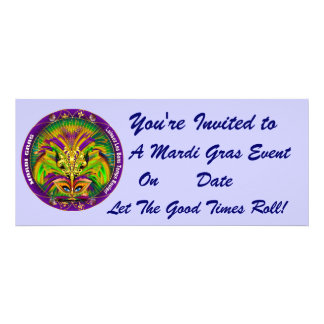 Mardi Gras Carvinal 4 x 9 25 Landscape View Note Personalized Announcement