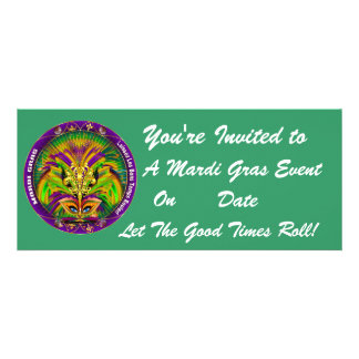 Mardi Gras Carvinal 4 x 9 25 Landscape View Note Personalized Invite