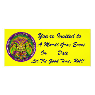Mardi Gras Carvinal 4 x 9 25 Landscape View Note Personalized Invitations