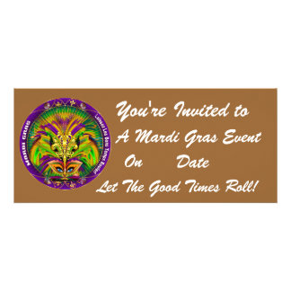 Mardi Gras Carvinal 4 x 9 25 Landscape View Note Announcements
