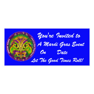 Mardi Gras Carvinal 4 x 9 25 Landscape View Note Invitation
