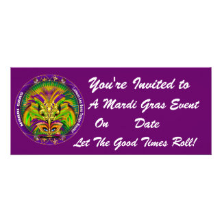 Mardi Gras Carvinal 4 x 9 25 Landscape View Note Custom Invites