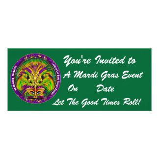 Mardi Gras Carvinal 4 x 9 25 Landscape View Note Custom Announcement