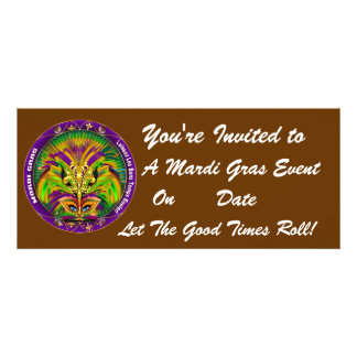 Mardi Gras Carvinal 4 x 9 25 Landscape View Note Custom Invitation