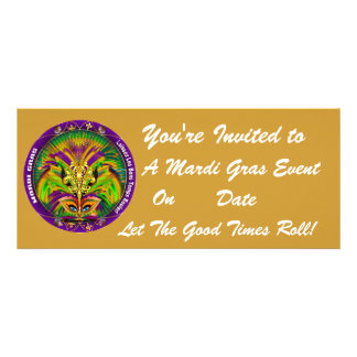 Mardi Gras Carvinal 4 x 9 25 Landscape View Note Custom Announcements